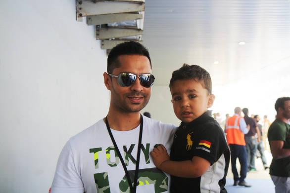 Gill and little Gill spotted at the Buddh International Circuit - they really believe in starting out young!