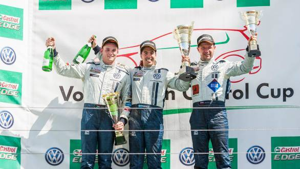 Jeffrey Kruger (left) with race winner Marcus Fluch and third-placed Maciej Steinhof on the podium