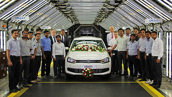 Volkswagen Top Management with the Employees at the 50,000th export car roll-out in Pune Plant