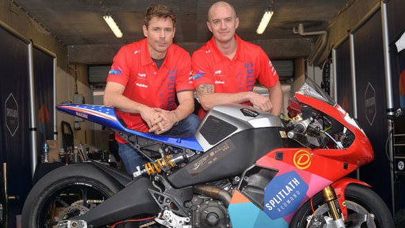 Mark Miller and Brandon Cretu with the 1190RS that they will compete with at the 2014 IOMTT