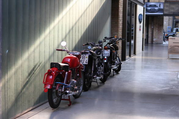 There aren't as many motorcycles at the Remise, and more often than not they are tucked away in corners - like this red Moto Guzzi Lodola 235