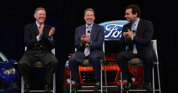 L-R Alan Mulally, Bill Ford and Mark Fields at the Press Conference