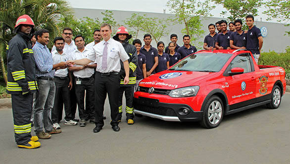 The keys of Firefighting car being handed over to the Fire Department of Volkswagen Pune Plant