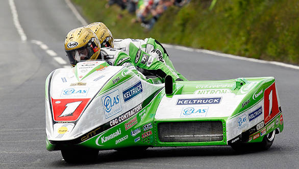 Although David Molyneux and Patrick Farrance had a near miss in the first Sidecar race, they made up for it by winning the second event in 2014