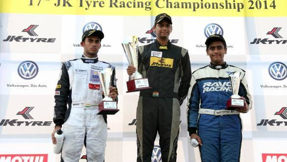 Vishnu Prasad flanked by Akhil Rabindra and Team Rayo Racing's Nayan Chatterjee on the podium after Race 1 of the FB02 races