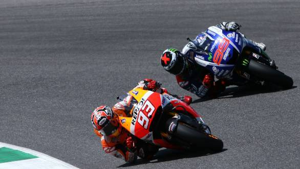 Marc Marquez leads Jorge Lorenzo in the Mugello thriller