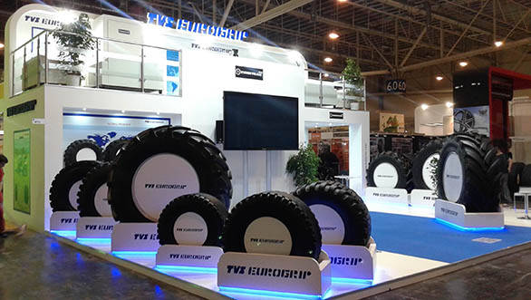 TVS Srichakra showcases Agriradial tyre 'Tigertrac' at Reifen 2014