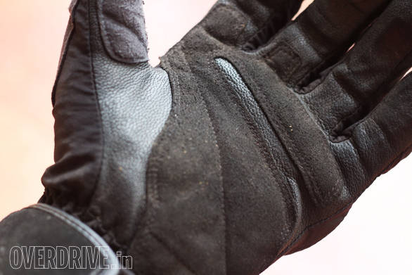 Note double layers of leather on the palm. This one is a waterproof glove so it uses a special kind of leather