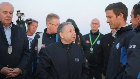 FIA President Jean Todt has a word with 2013 WRC Driver's Champion Sebastien Ogier, who currently leads Rally Poland and is also at the head of the 2014 Championship standings