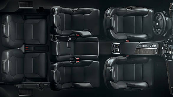 Top view of the seven seat configuration in the all-black trim option