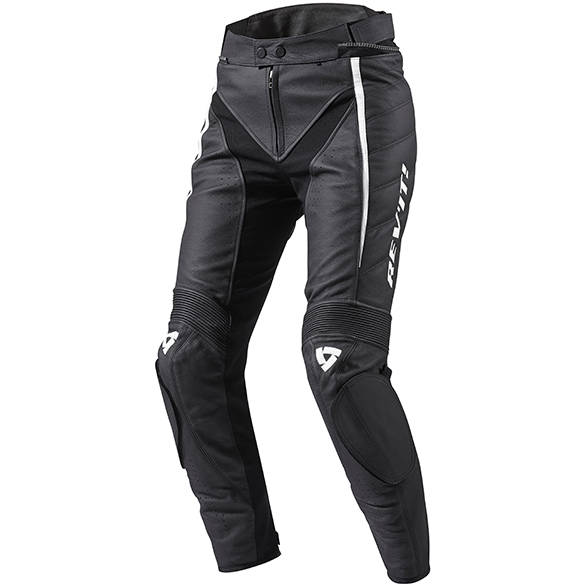 This is a pair of leather sport pants. Note the tight fitting cut and the leather panels that cover velcro loop pants for knee sliders. The darker black material around the crotch area is stretch to allow easy leg movement despite the thickness of the leather. Image courtesy: Rev'It