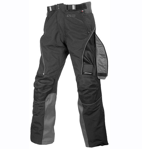 This is a Joe Rocket Alter Ego Pant - Shumi uses the next generation of this particular design as one of his daily riding equipment. The pant is constructed of abrasion resistant material and has knee armour but notice the panel on the left leg. Two zips allow you to take the whole panel off and create a large mesh vent. Zip that panel closed and add the included waterproof liner and this pant will also work in near-freezing temperatures. Image courtesy: Joe Rocket