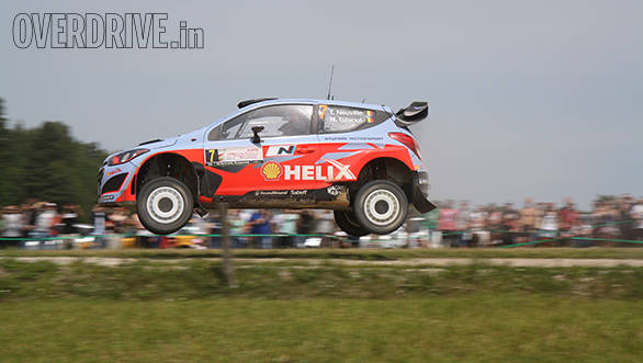 Hyundai's Thierry Neuville and Nicolas Gilsoul also airborne on their way to a podium finish