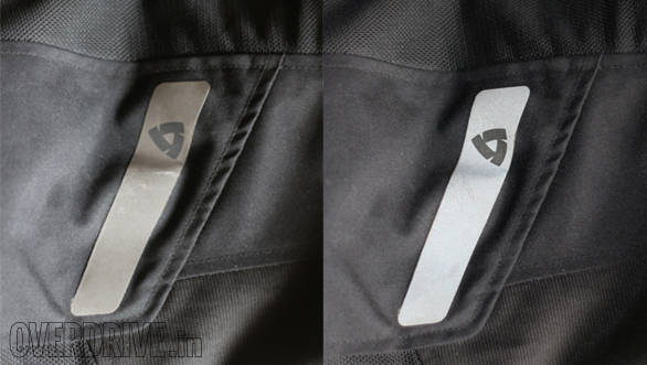 The Rev'it pants use a large reflective stripe on the side and other pants use different configurations. In the pic, the darker image is in normal daylight and the brighter one is shot with flash to show the reflective lighting up. Note the placement of the reflective when buying - it should be in a place where it's visible