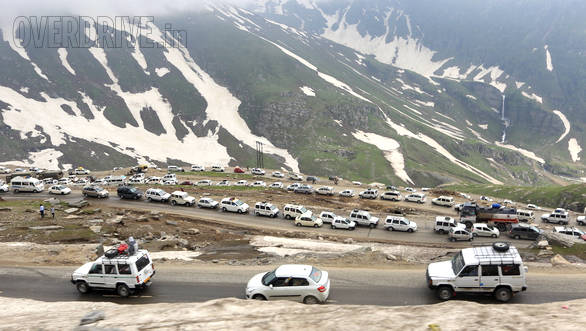The spectacularly scenic way to Rohtang pass covered in a blanket of melting snow and heavy traffic at 12,000 feet