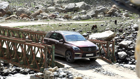 Crossing over the bridge, one at a time at Chatru, near our camp site at Spiti valley