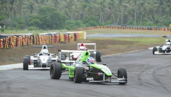 Vikash Anand leads the pack during an MRF FF1600 race at the Kari Motor Speedway
