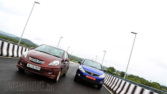 The Amaze is quickest of the lot, the Zest AMT is slower to shift  gears and hence not as quick