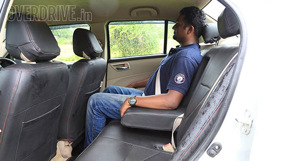Dzire is the least roomy at the back while seat is more upright. The rear seat however is comfortable