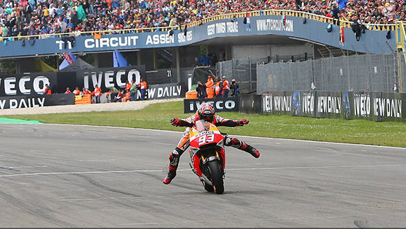 Even the rain couldn't stop Marquez from 'swimming' away from the competition in Assen