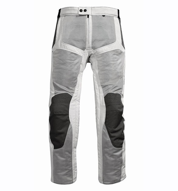 This is a pair of Rev'it Airwave Pants. The darker grey panels are all mesh - think of it as a really strong, nearly opaque net. On the knees is a heavy duty material as is the while material that surrounds the mesh. There is armour in the knees and though not visible two large retroreflective strips next to the knees. If you look carefully, the inside of the leg has a zipper that runs nearly to the crotch to allow you to wear this garment - which is an overpant by design, over your street clothes quickly. In India, we use this pair (in black) as a riding pant without street clothes - our temperatures are too hot to handle two layers even if the outer one is mesh.