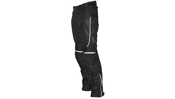 All mesh, CE knees, memory foam hip and lower back armour, reflectives, boot zips, connecting zip, adjustable waist