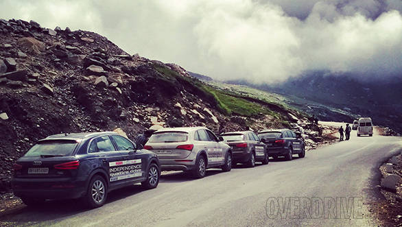 Nearing the top of Baralachla, the terrain is still green and the pass - considered the most dangerous on the Manali-Leh run - has a way of surprising you