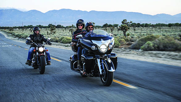 The Indian Chieftain (right) is the top model in the Indian line-up. The new Scout (left) now takes up position as the entry-range of Indian Motorcycles offering a significantly different proposition from the retro-chief