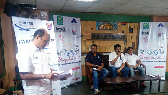 Clerk of the course, J Balakrishna, Team Torque competitor Sai Prasad, KMSC chairman Bharat Raj and Team Tata Motors competitor BS Sujith Kumar during the press conference in Bangalore on Friday