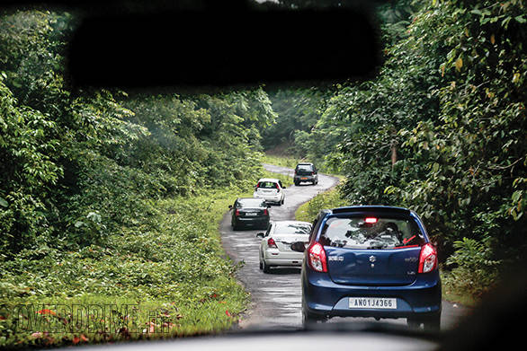 Following a convoy of cars under strict monitoring through the protected tribal area
