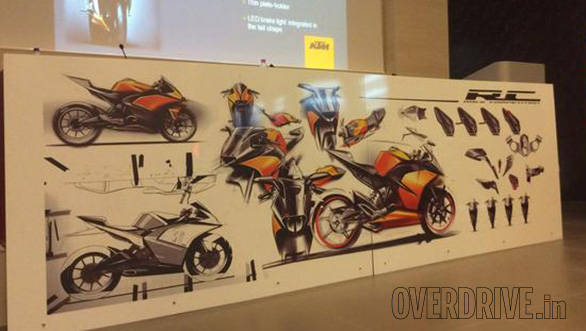 Sketches at the bottom right depict the sequence followed in the racebike to streetbike design evolution