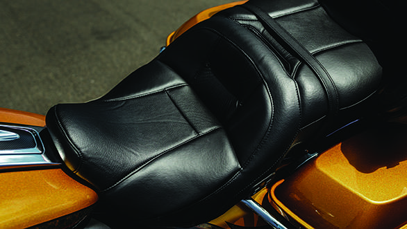 The leather seat on the CVO Limited is relatively simple as CVOs go. We've seen some lovely seats with incredible detail and etchings in them in the CVO line