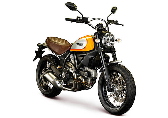 The Scrambler Classic comes in this colour called Orange sunshine  with a black frame and brown seat
