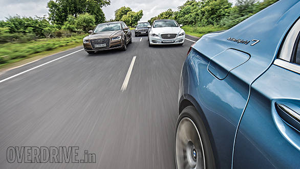Audi A8 L vs BMW ActiveHybrid 7L vs Jaguar XJ L vs Mercedes-Benz S350 CDI 4