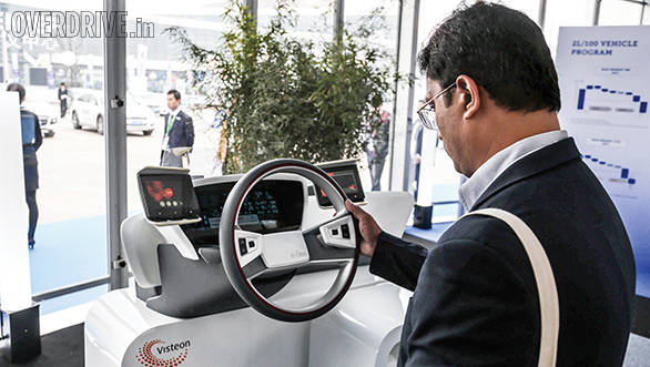 Visteon was one of many technology providers showcasing tech like the e-bee driving system that uses cameras and social media on the touchscreen display areas