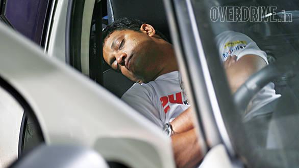 A quick nap between driving stints