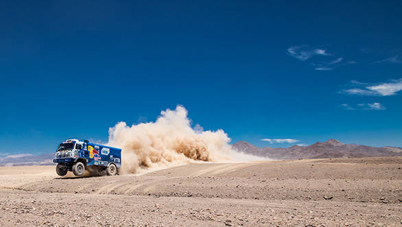 Airat Mardeev is second in the standings, with Kamaz team-mate Andrey Karginov third in the truck class.