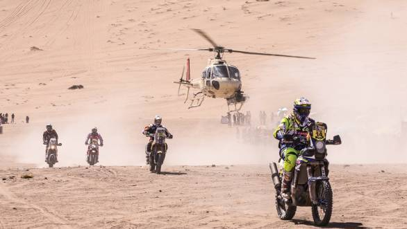 Duclos with other riders trailing behind him at the stage from Chilecito to Copiapo at the 2015 Dakar Rally