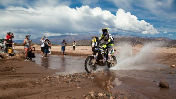 Sherco TVS rider Alain Duclos powers through to eleventh overall on two wheels after the third stage of the 2015 Dakar Rally