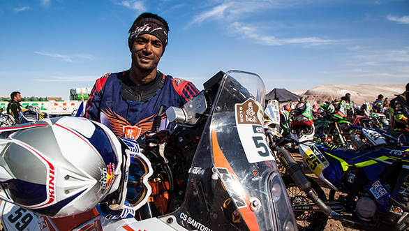 All smiles is our own CS Santosh at the bivouac. It's been a tough few days of riding but Santosh seems to be doing well on his Dakar debut