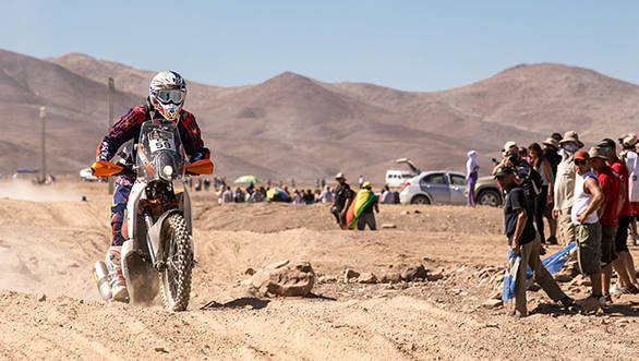CS Santosh is currently ranked 49th in the motorcycle category of the 2015 Dakar.