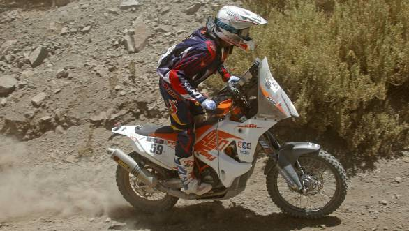 The rocky terrain of Stage 4 of the 2015 Dakar Rally proved to be challenging for CS Santosh