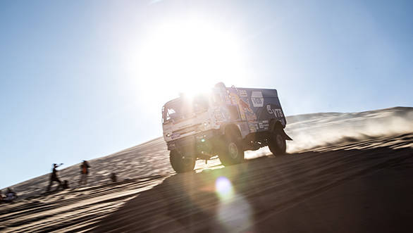 Eduard Nikolaev and his Kamaz team-mates have locked out the top three positions in the truck category.