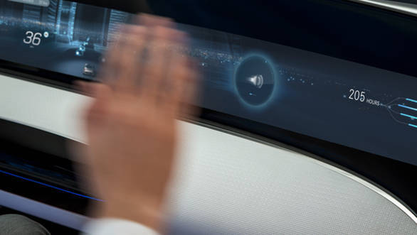 Hand and eye gestures control the infotainment systems in the F 015
