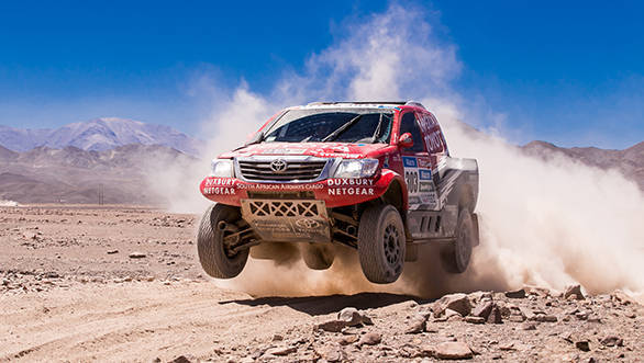 The man who could spoil Al-Attiyah's hopes is Toyota driver Giniel de Villiers. The South African currently trails Al-Attiyah by 11 minutes.