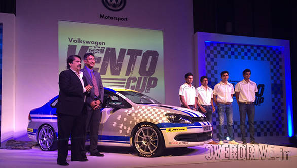 Sanjay Sharma, head of motorsport, JK Tyre, Sirish Vissa, head of motorsport, Volkswagen India, with the new Race Vento and former Polo Cup champions Kartik Tharani, Ameya Walawalkar, Rahil Noorani and Vishnu Prasad