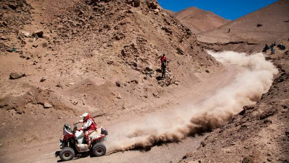 Rafal Sonic leads the quad category from Ignacio Casale at the halfway mark of the 2015 Dakar Rally