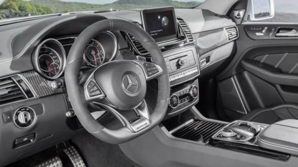 AMG bits, carbon detailing and a flat-bottomed steering wheel make it to the interiors of the GLE63