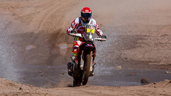 Here's the man leading the way at the 2015 Dakar Rally - HRC rider Joan Barreda Bort  has managed to take command in the motorcycle category with a total time of 21hr 38min 35sec