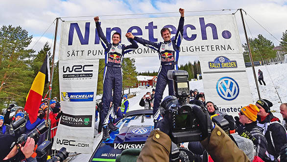 Winners Julien Ingrassia and Sebastien Ogier with the VW Polo R WRC Mk2